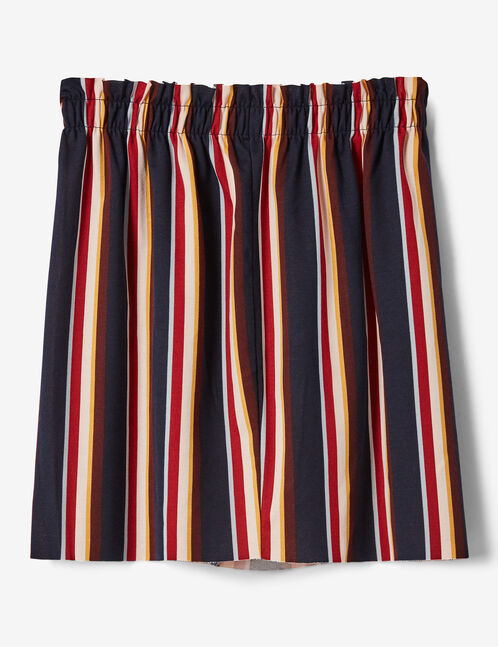 Navy blue striped skirt with ruched detail