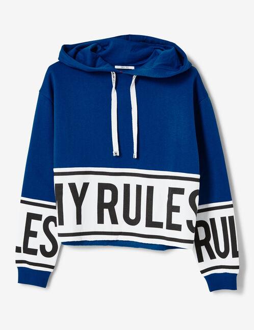 sweat à capuche my rules bleu