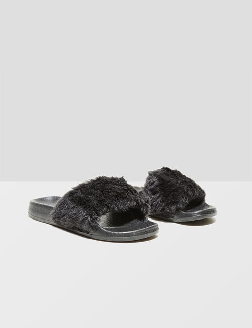 Black slippers with faux fur
