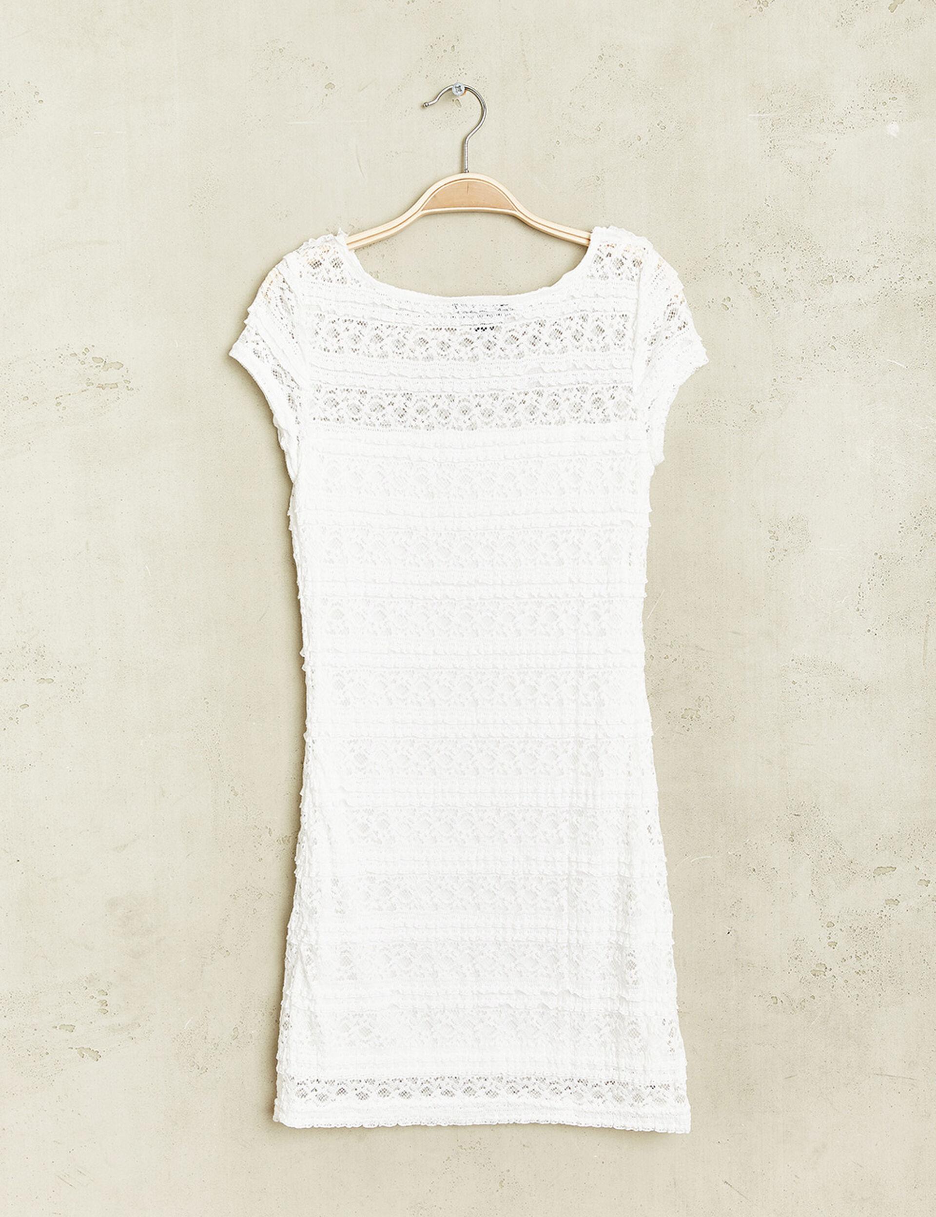 Robe dentelle élastiquée blanche