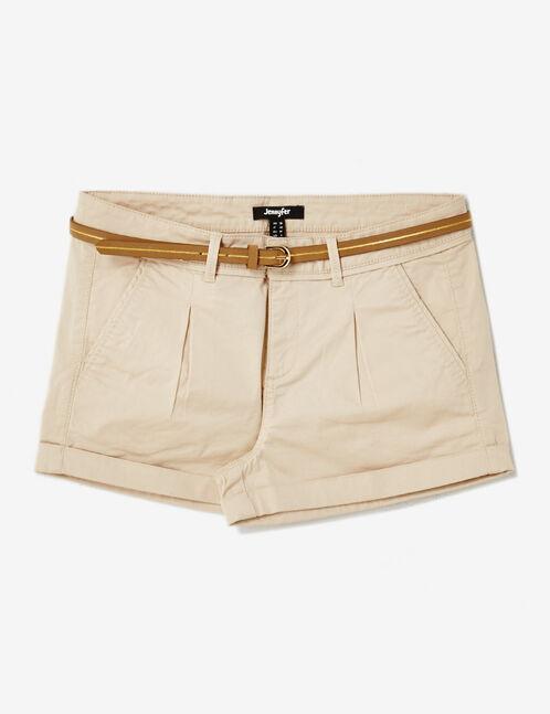 short avec ceinture beige