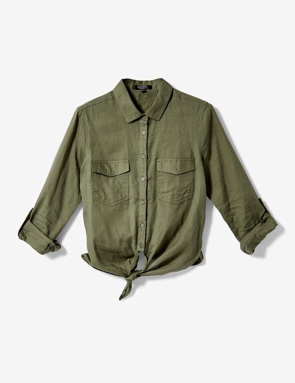 Chemise à nouer kaki