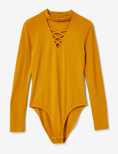 Ochre bodysuit with lacing detail