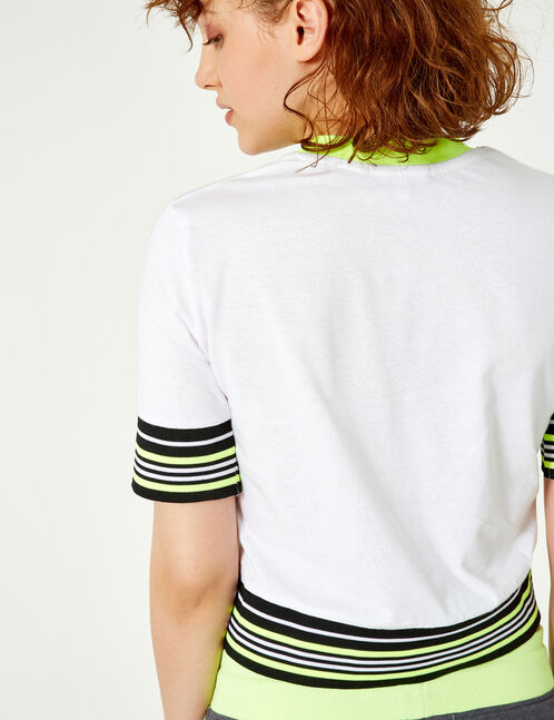 White T-shirt with striped trim detail