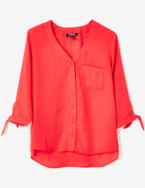 chemise décolleté v rouge