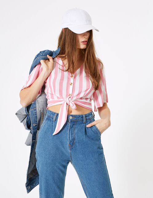 Pink and cream striped buttoned shirt