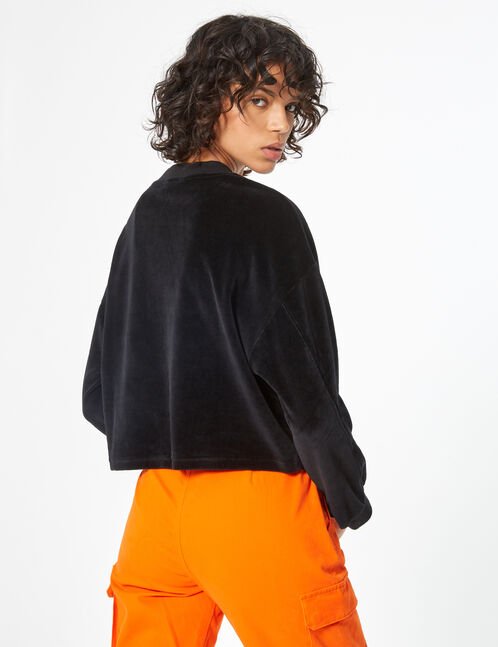 Cropped velvet sweatshirt