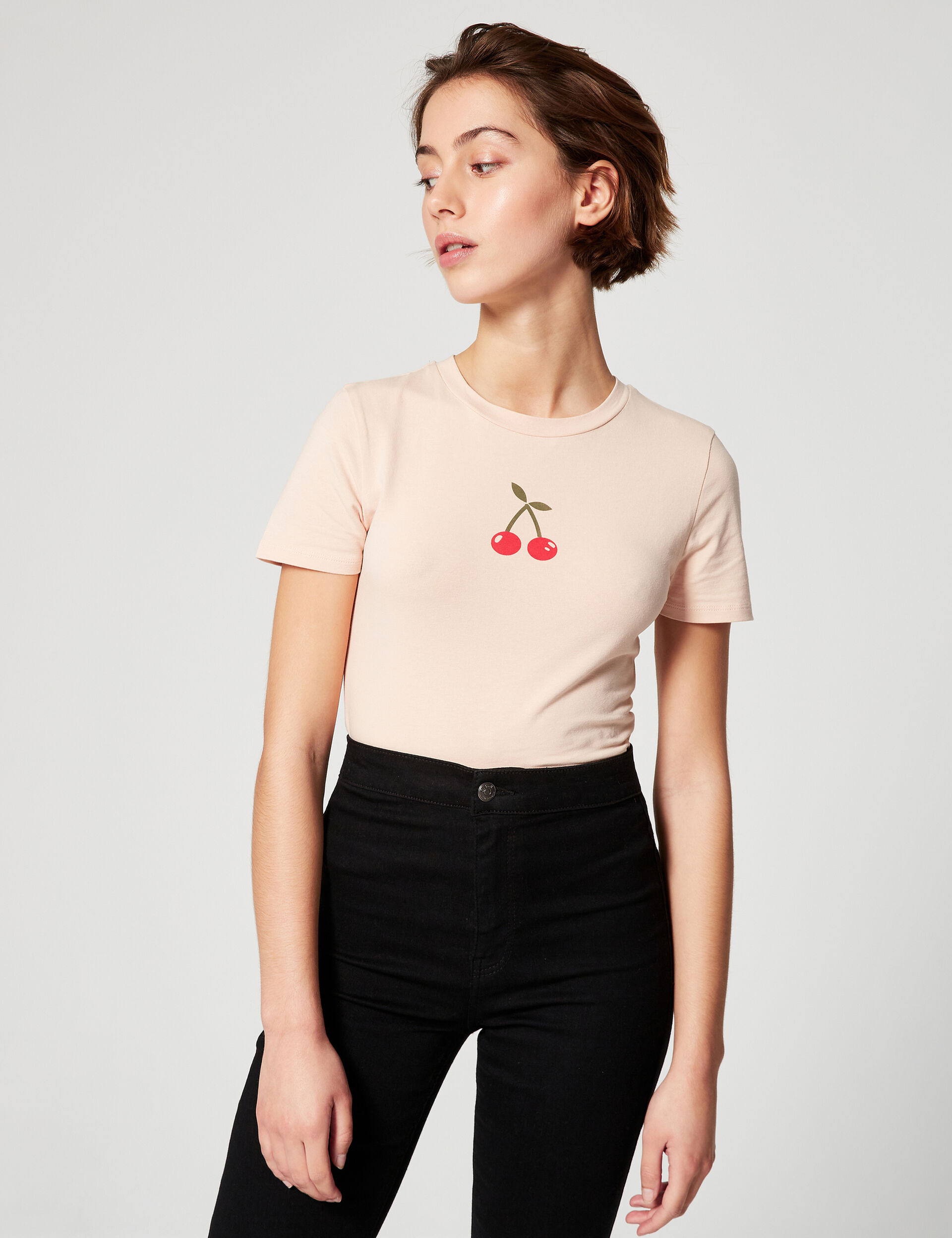 Fitted T-shirt with motifs