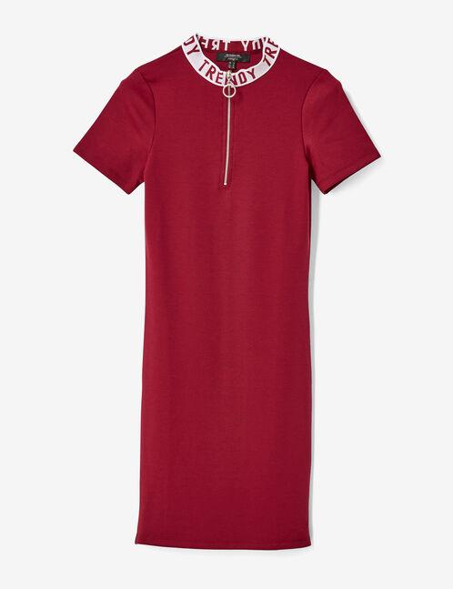 "Burgundy ""trendy"" dress with zip detail"