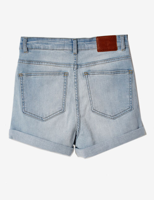 short en jean avec revers bleach