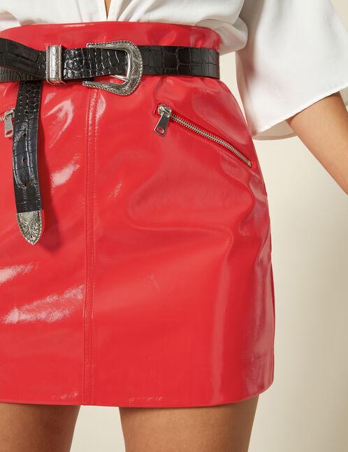 jupe vinyle moon rouge