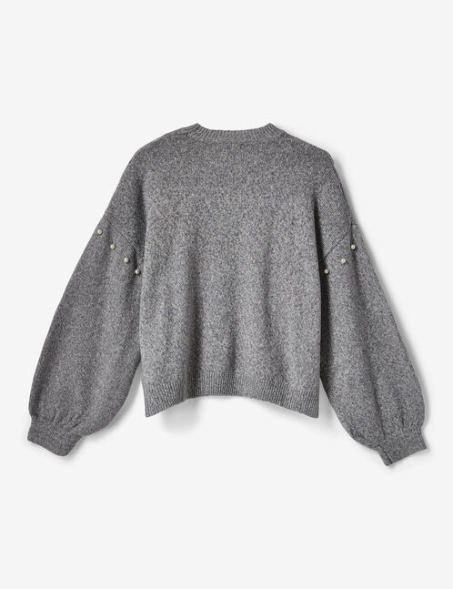 Light grey jumper with pearl detail
