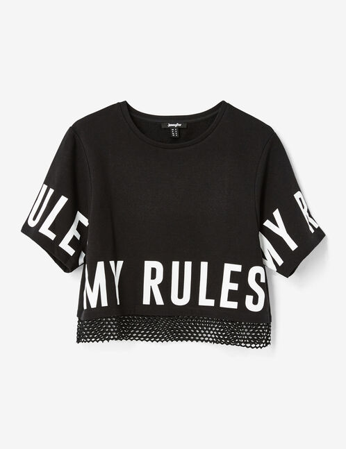 Black mixed fabric fitness T-shirt
