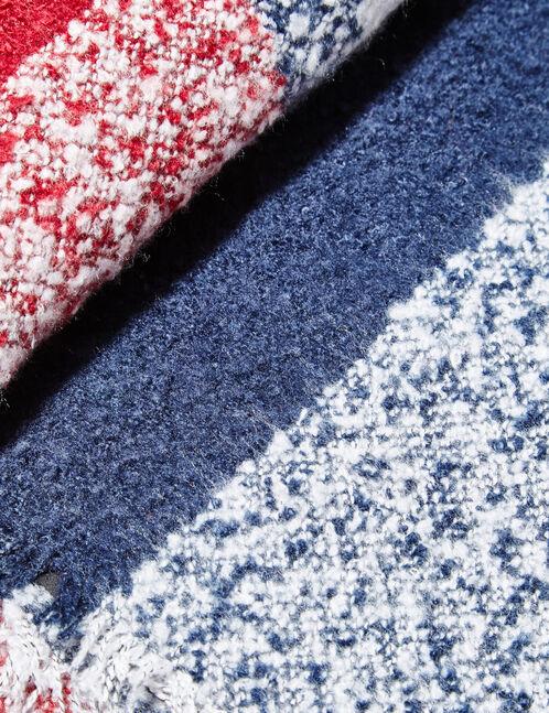 écharpe texturée bordeaux, bleu marine et écrue