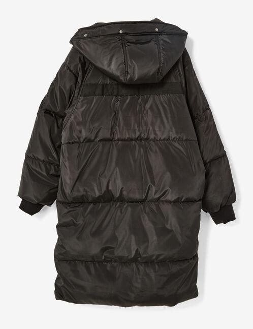 Extra long black padded jacket