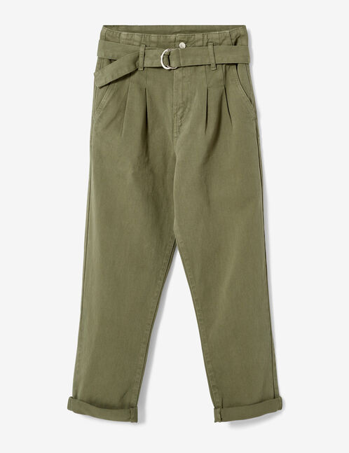 Khaki trousers with belt