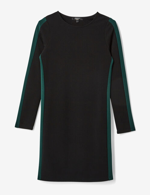 Black and green dress with side stripe detail
