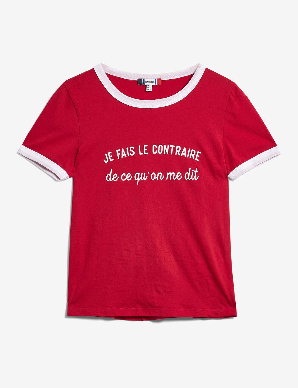 tee shirt message rouge et blanc femme jennyfer. Black Bedroom Furniture Sets. Home Design Ideas
