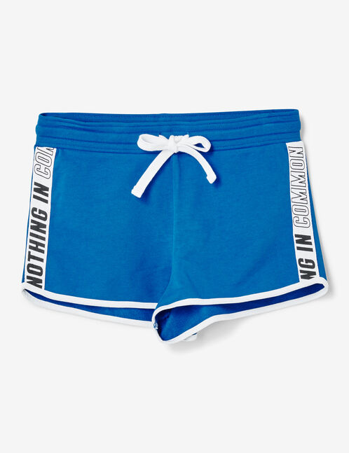 Blue jersey shorts with text design detail