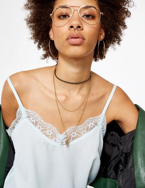 blouse avec dentelle bleu clair