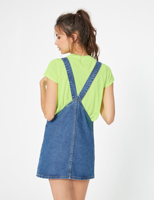 Robe chasuble en jean medium blue