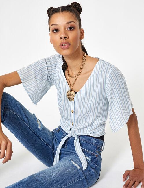 chemisette rayée boutonnée