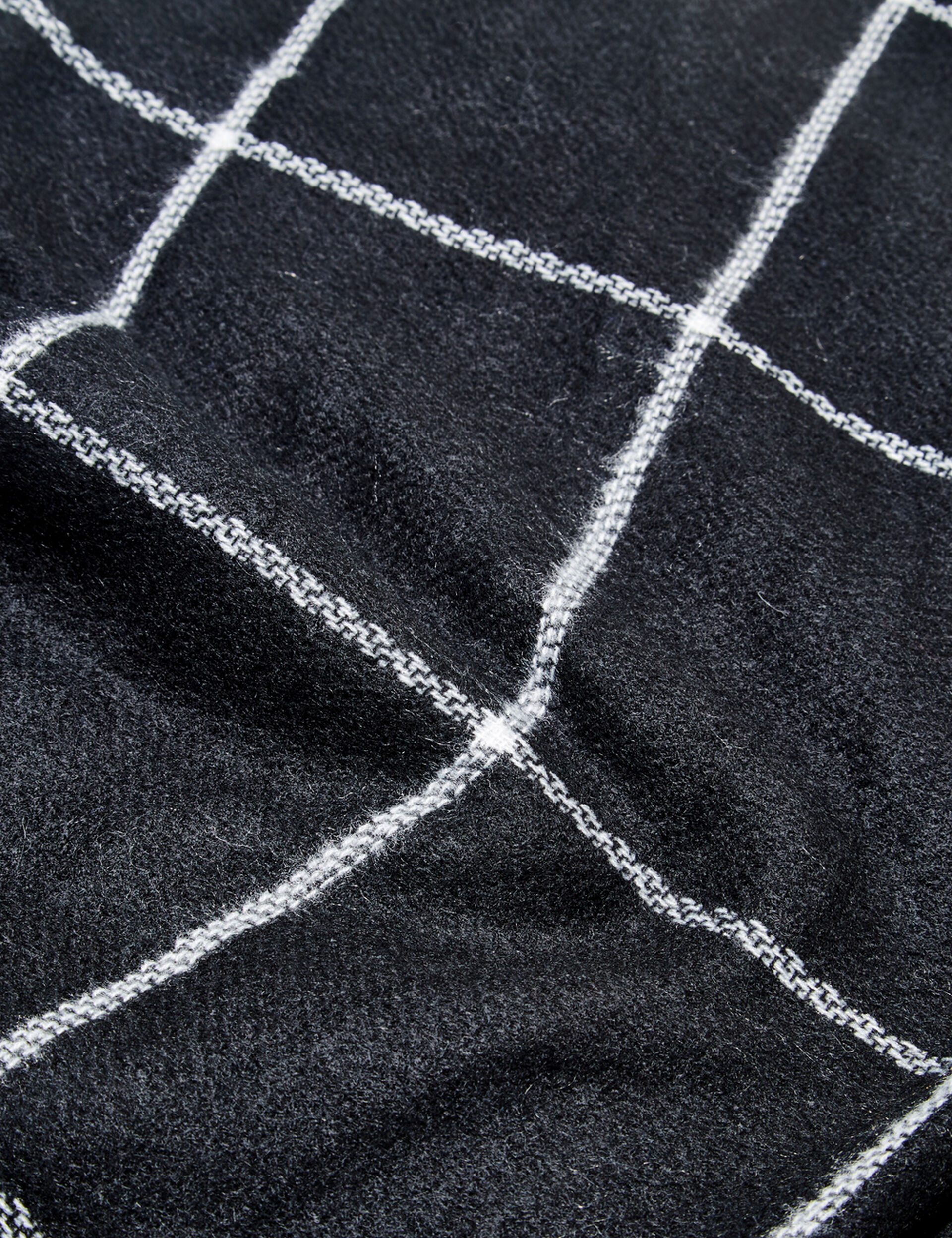 écharpe plaid noir et écru
