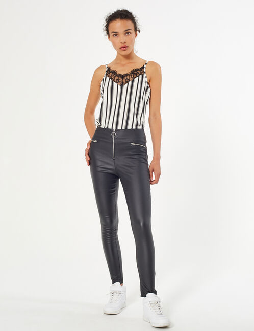 Zipped coated trousers