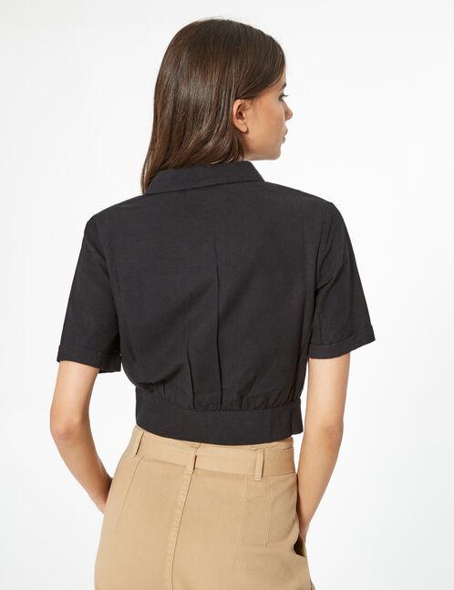 chemisier à poches noir