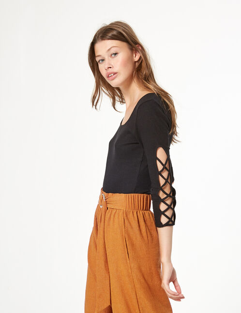 rib-knit bodysuit with lacing detail