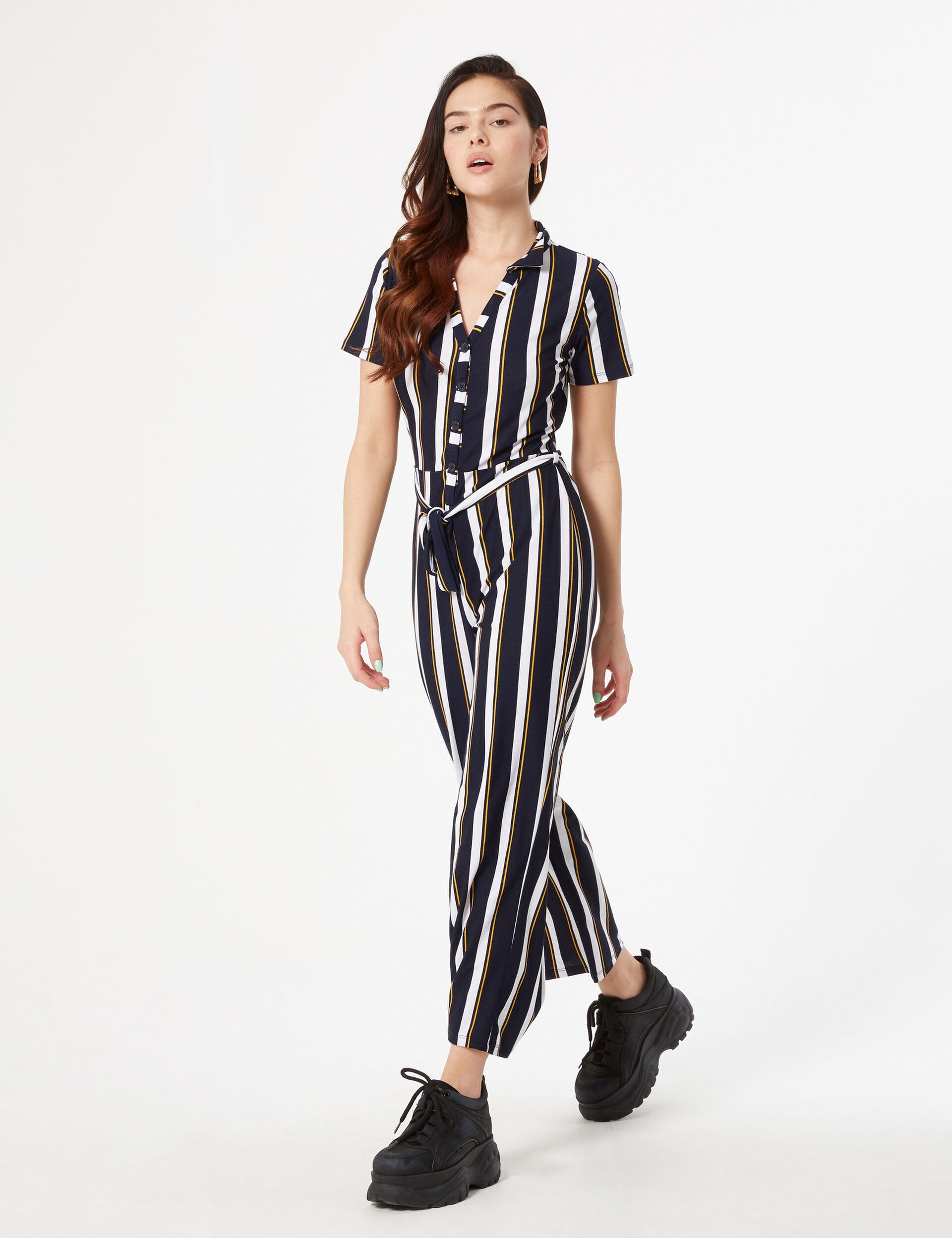 Striped flowing jumpsuit