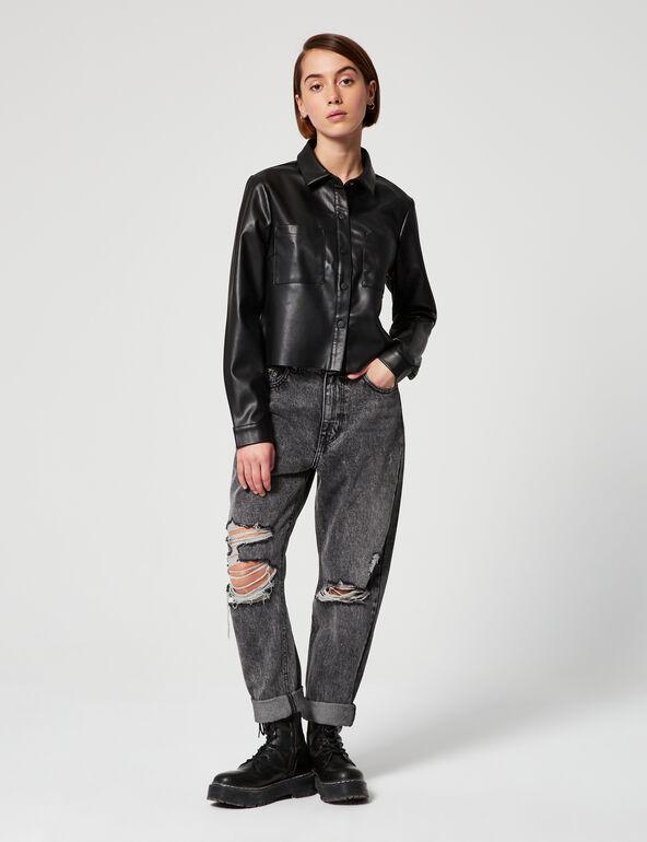 Short imitation leather shirt