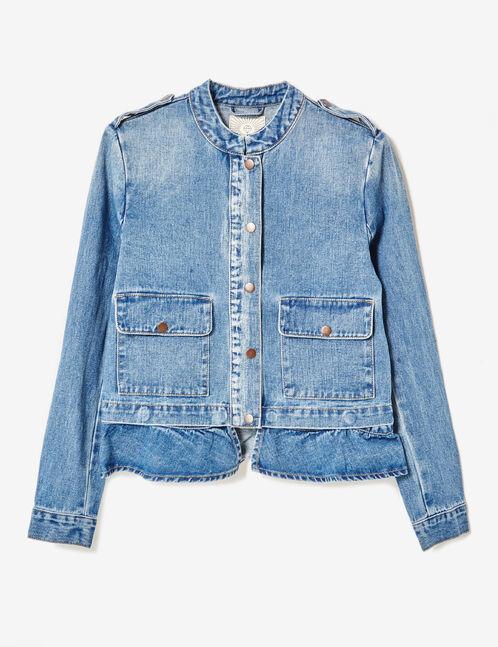 veste en jean avec volant medium blue