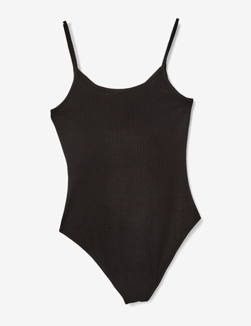 Black bodysuit with strap detail