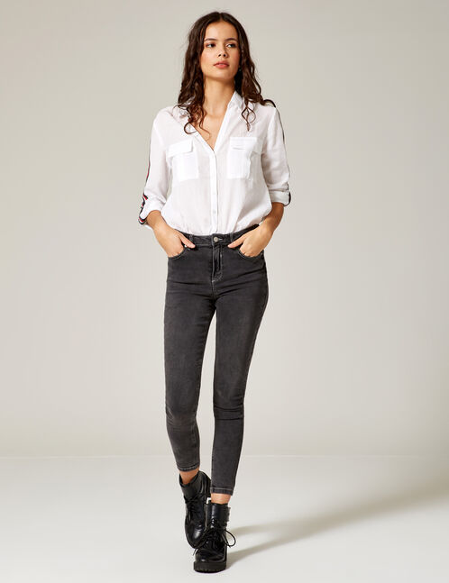Grey high-waisted skinny jeans