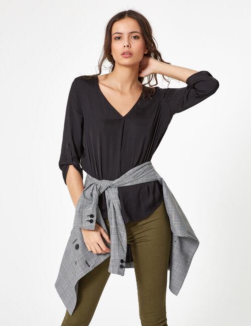 blouse touché satin noire