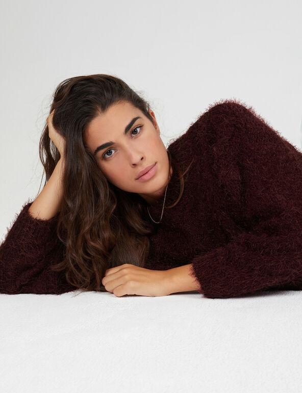 Plum braided-knit mohair jumper