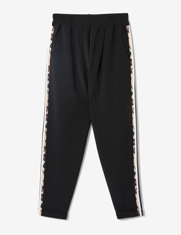 Black and leopard print joggers with side trim detail