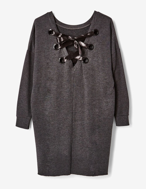 Charcoal grey marl sweater dress with back lacing detail