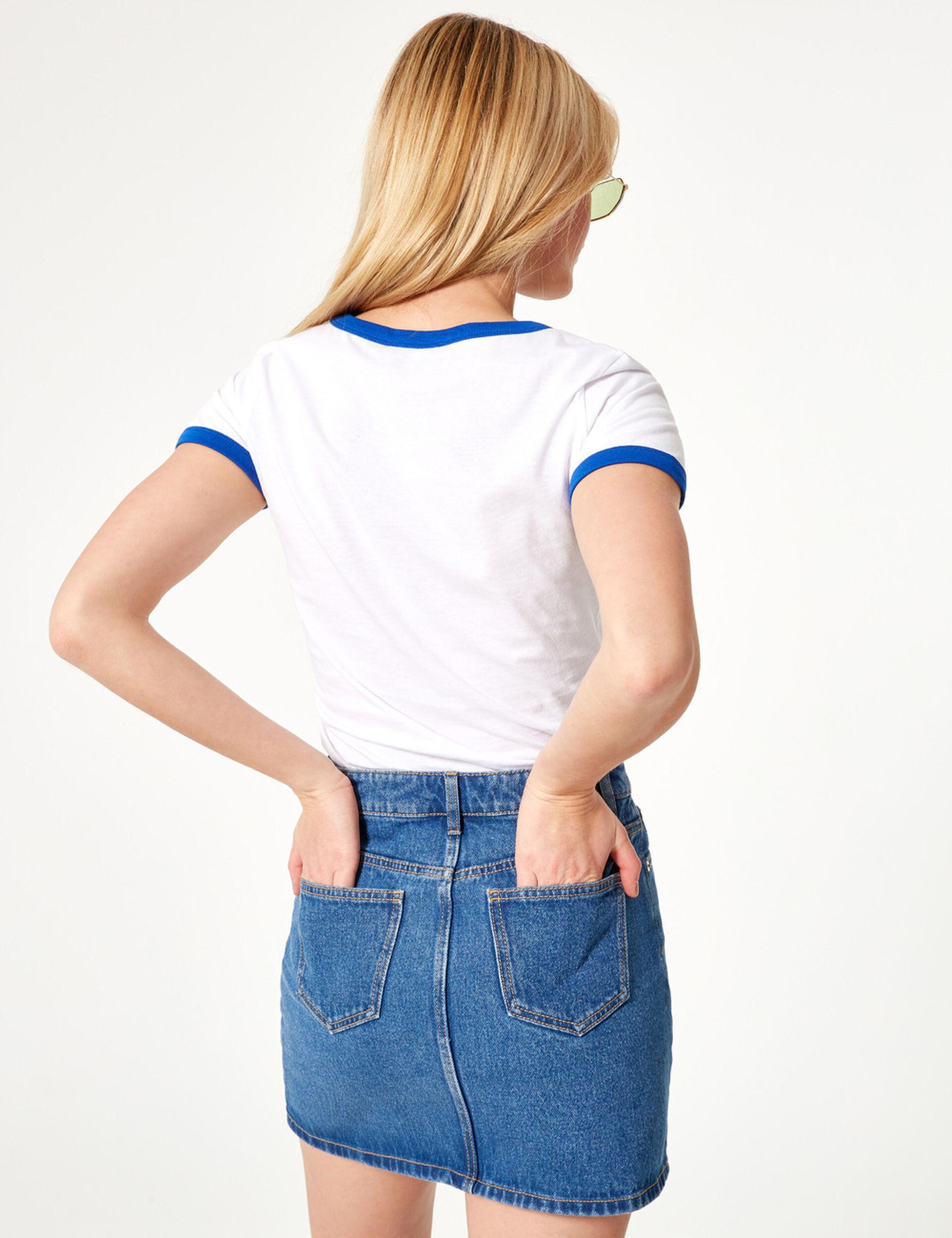 Jupe en jean boutonnée bleue
