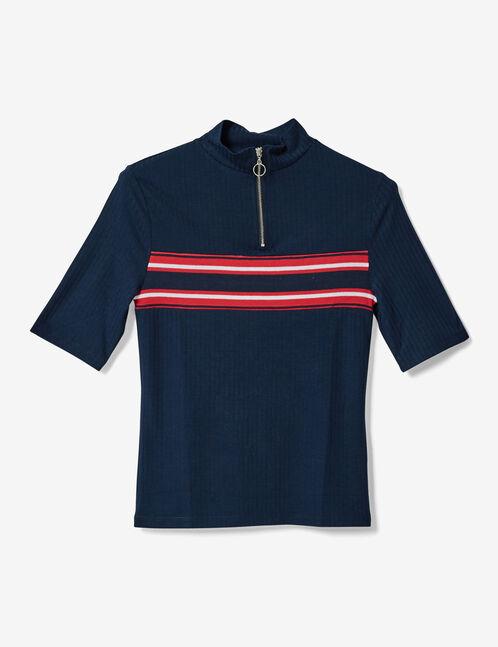 tee-shirt avec bande rayée bleu marine