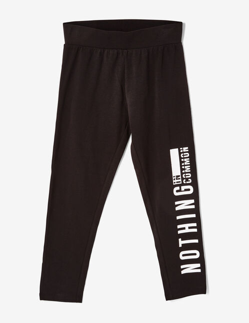 Black cropped leggings with text design detail