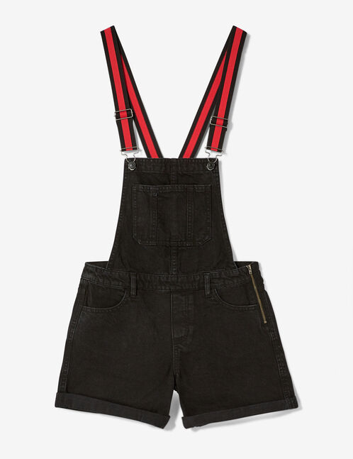 Black denim dungaree shorts