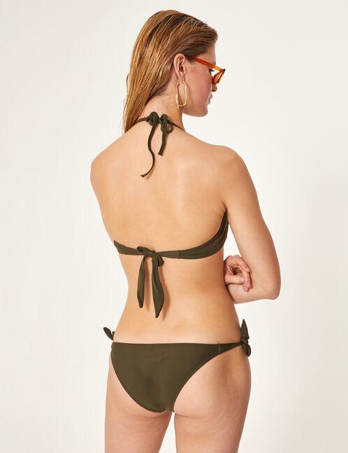 Khaki bikini set with frill detail