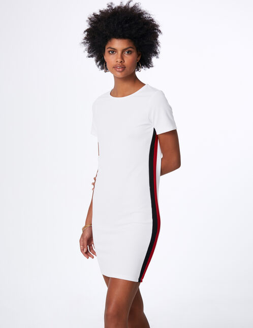White dress with side stripe detail