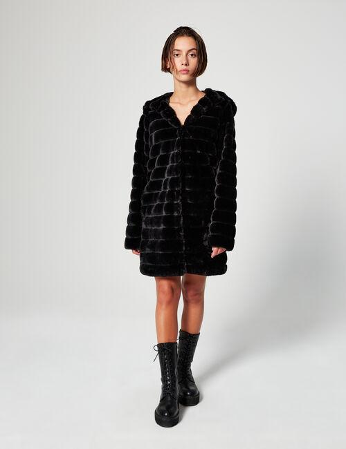 Manteau à capuche imitation fourrure