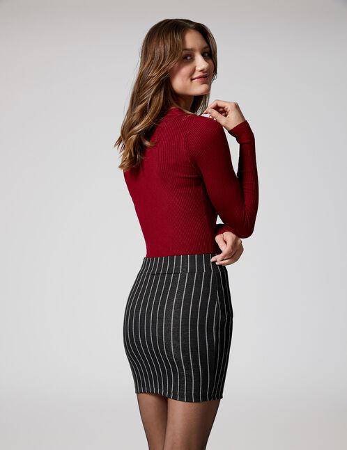Black and white striped zipped tube skirt