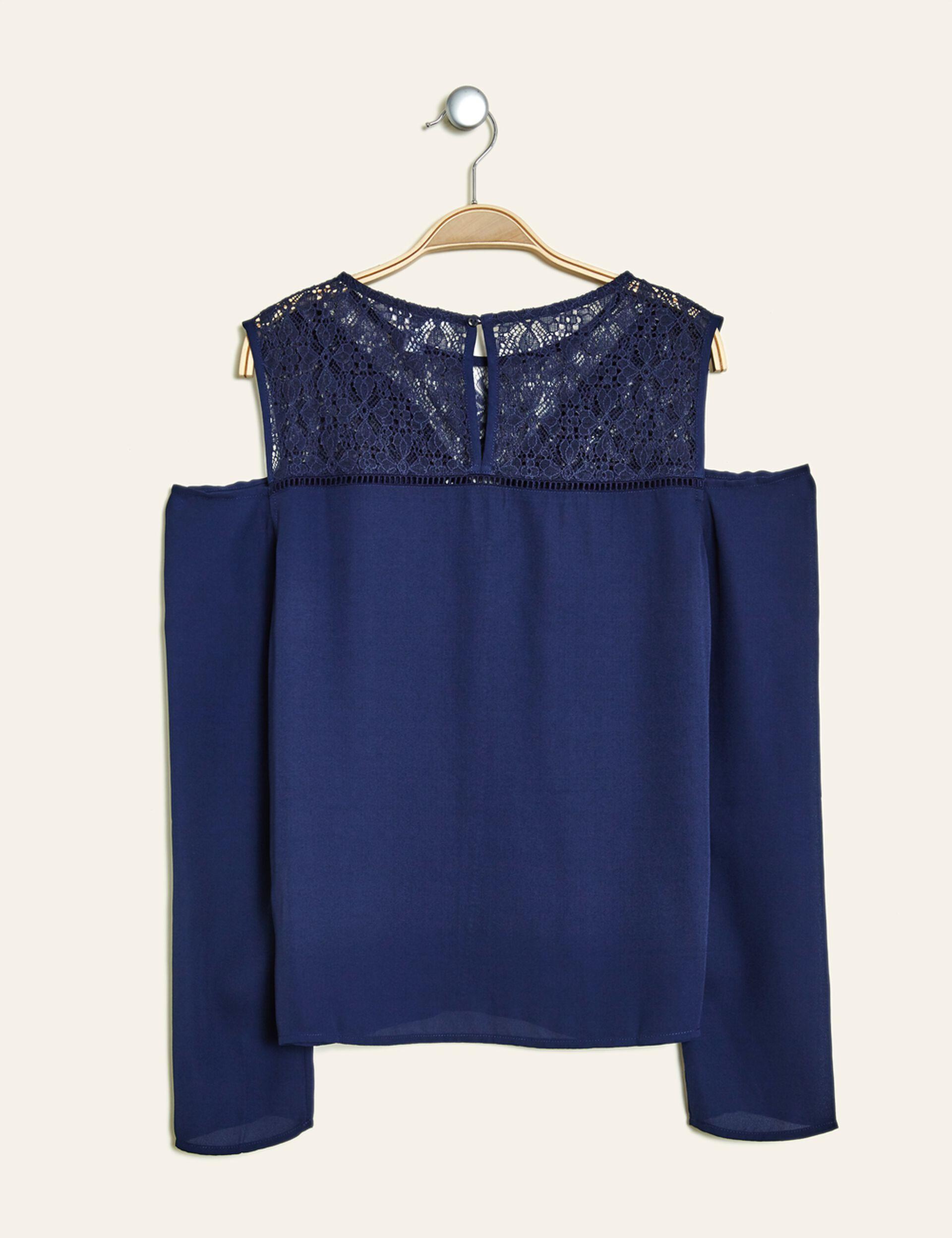 blouse épaules ajourées bleu marine