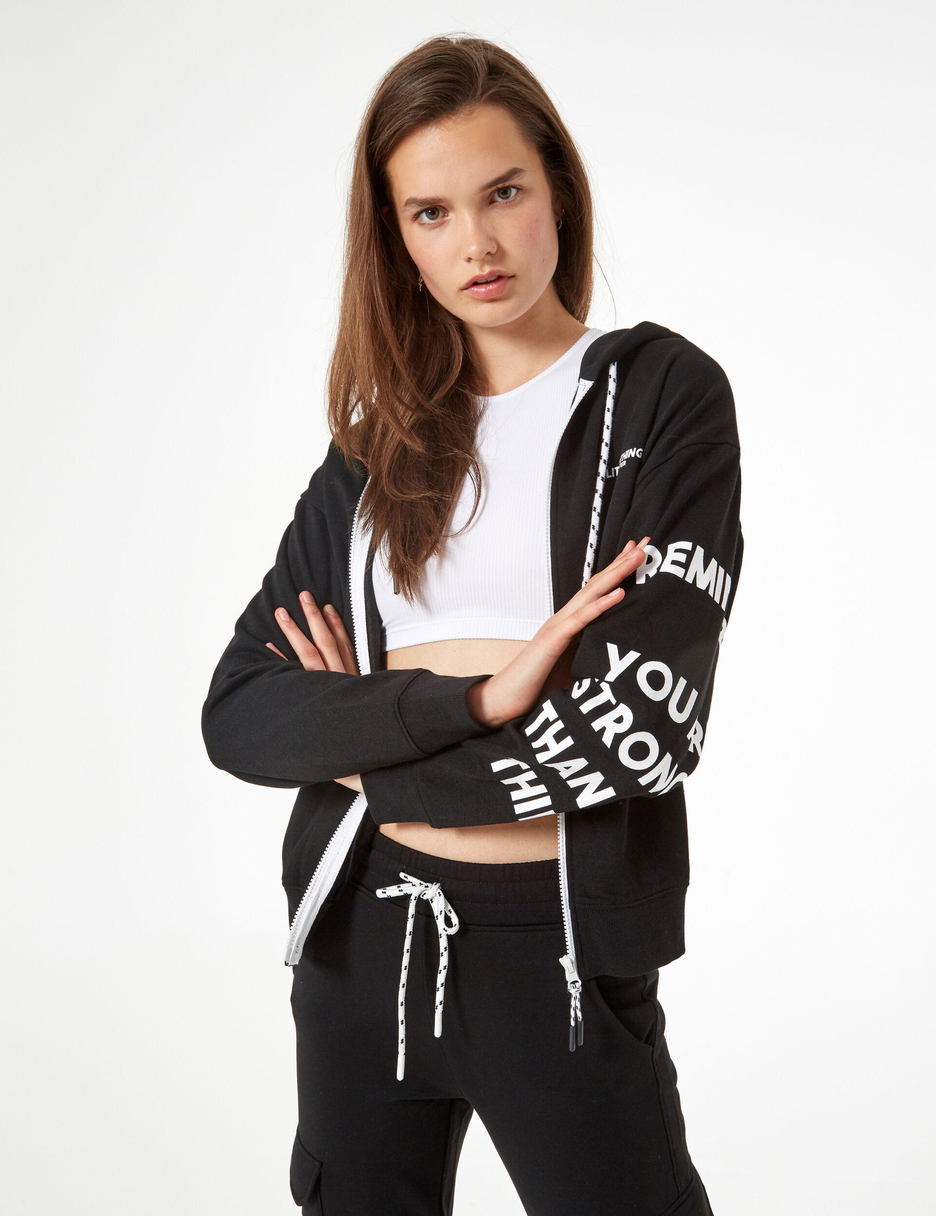 Zippered sweatshirt with message