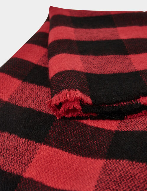 Black and red checked scarf